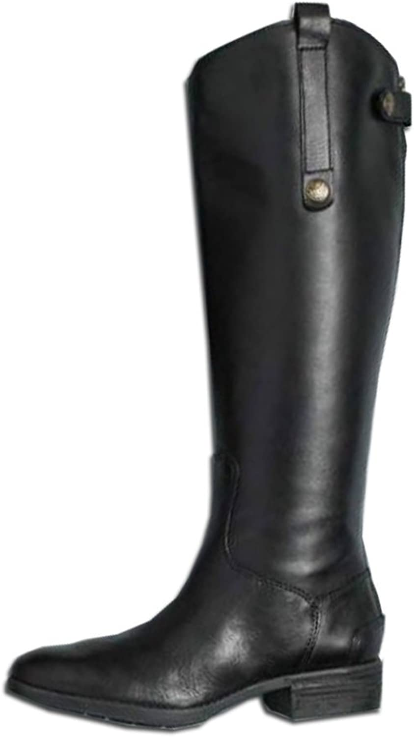 Kaloosh Women's Fashion Concise British Style Pointed Toe Comfort Square Heel Knee high Boots