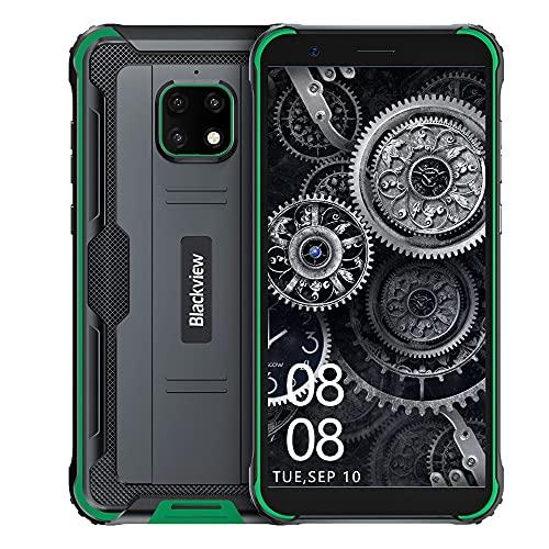 Movil Resistentes, Blackview BV4900 Android 10 Impermeable Smartphone, 5.7' HD + Pantalla Teléfonos, Cámara de 8MP, 3GB + 32GB, 5580 mAh Batería, Dual SIM, GPS, NFC, Face ID - Verde
