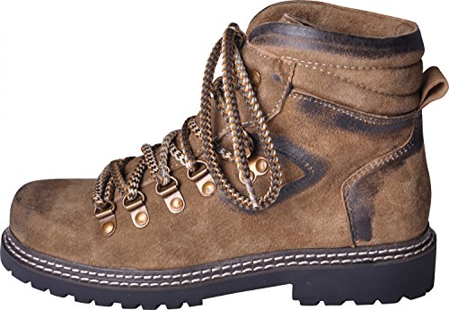 Almwerk Damen Trachten Bergschuh Wanderschuh verschiedene Farben, Schuhgröße:EU 38 - US 6.5 - Fußlänge 24.3 cm;Farbe:Hellbraun