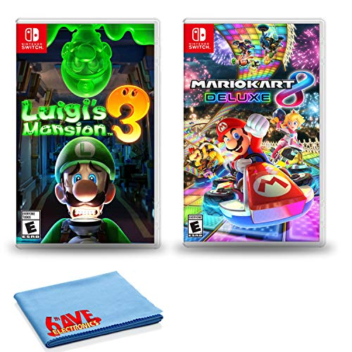 Nintendo Switch Luigi's Mansion 3 Bundle with Mario Kart 8 Deluxe and 6Ave...