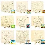Liuer 10PCS mini Chevalet Peinture Enfant en Bois Pliant Chevalet avec Toiles à Peindre Toile Peinture Enfants Bois pour Peinture Craft Dessin Décoration Cadeau et Enfants(Motif Mignon)