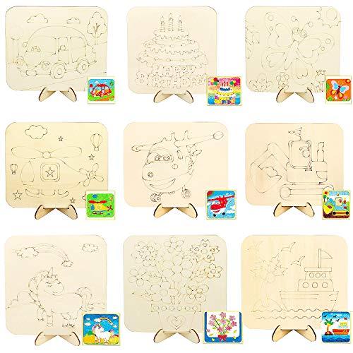 Liuer 10PCS Caballete Pintura Niños de Madera Pintura Manualidades pequeño Madera Bloc de Dibujo para Pintar Manualidades...