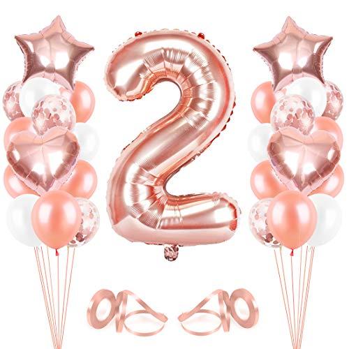 Bluelves Luftballon 2. Geburtstag Rosegold, Geburtstagsdeko Mädchen 2 Jahr, Happy Birthday Folienballon, Deko 2 Geburtstag Mädchen, Riesen Folienballon Zahl 2, Ballon 2 Deko zum Geburtstag