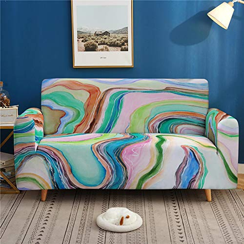 Treer Sofa Slipcovers Stretch Fabric, 3D Marble Print 1 2 3 4 Seater Elastic Sofa Cover Polyester Anti-Slip Couch Covers Universal Furniture Cover Pet Protector (Marble Print,1 Seater)