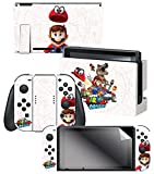 Controller Gear Nintendo Switch Skin & Screen Protector Set, Officially Licensed By Nintendo - Super Mario Odyssey 'Capture Map' - Nintendo Switch