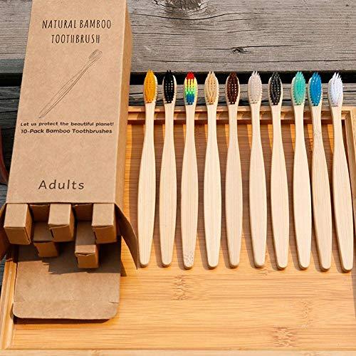 Krystallove 10pcs Bio-bambú cepillo de dientes para adultos cerdas suaves ecológicos biodegradables cepillos de dientes