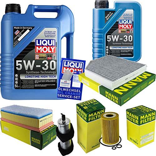 Filter Set Inspektionspaket 6 Liter Liqui Moly Motoröl Longtime High Tech 5W-30 MANN-FILTER Innenraumfilter Kraftstofffilter Luftfilter Ölfilter