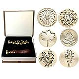 Phyachelo Moorlando - Juego de sellos de cera de sellado, 6 piezas de sellos botánicos de cera de latón + 1 mango de madera con una caja de regalo vintage