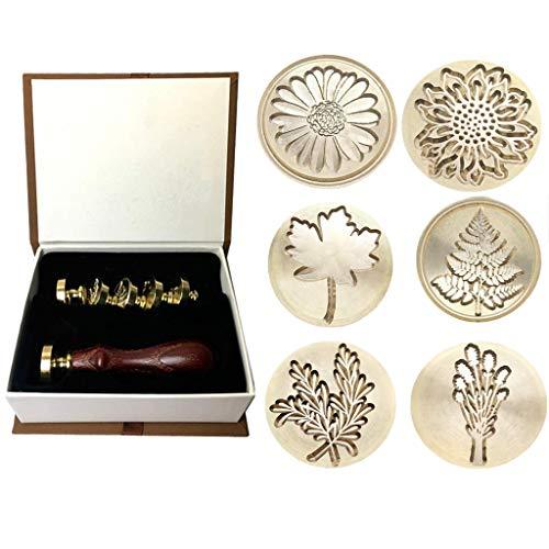 CUHAWUDBA Moorlando Wachs Siegel Stempel Set, 6 Stücke Botanische Siegel Lack Stempel Messing K?pfe + 1 Stück Holz Griff mit Einem Geschenk Box Vintage
