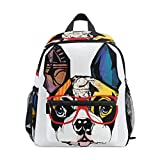 Upgraded Backpack for School Teenagers French Bulldog Travel Bag with Chest Buckle and Whistle(h)