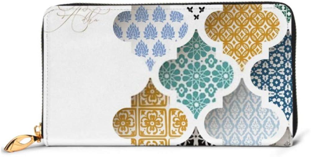 Fashion Handbag Zipper Wallet Muslim Holiday Eid Al Adha Greeting Phone Clutch Purse Evening Clutch Blocking Leather Wallet Multi Card Organizer