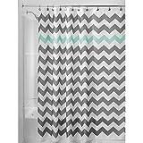 Cortina de ducha de tela a rayas de poliéster resistente al agua, juego de accesorios para el hogar, repelente al agua, 180 x 180 cm (verde y gris)