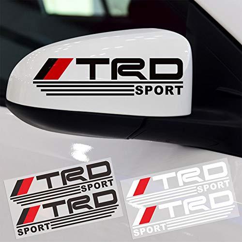 Car-Styling Trd Logo Espejo retrovisor Reflectante Etiquetas engomadas del coche 3D Decoración de personajes divertidos Calcomanías de diseño de automóviles Pegatinas 2 piezas