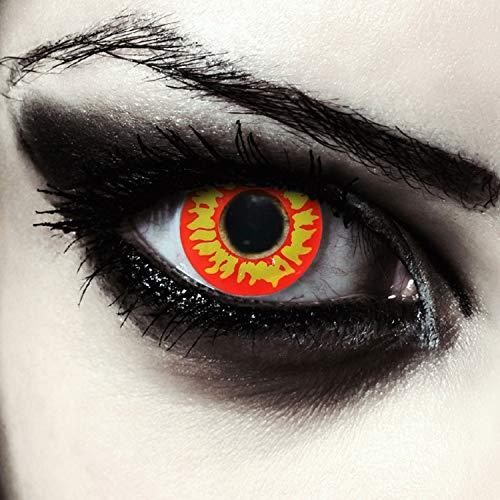 Designlenses feurig Rot gelbe farbige Kontaktlinsen für Vampir Dämonen Halloween Kostüm ohne Sehstärke + gratis Kontaktlinsen Behälter
