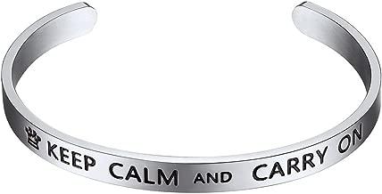 PROSTEEL 316L Stainless Steel Inspirational Bracelet for Men Women, Black/18K Real Gold Plated Cuff Bracelet, Friendship Jewelry, Fit Wrist 5.5
