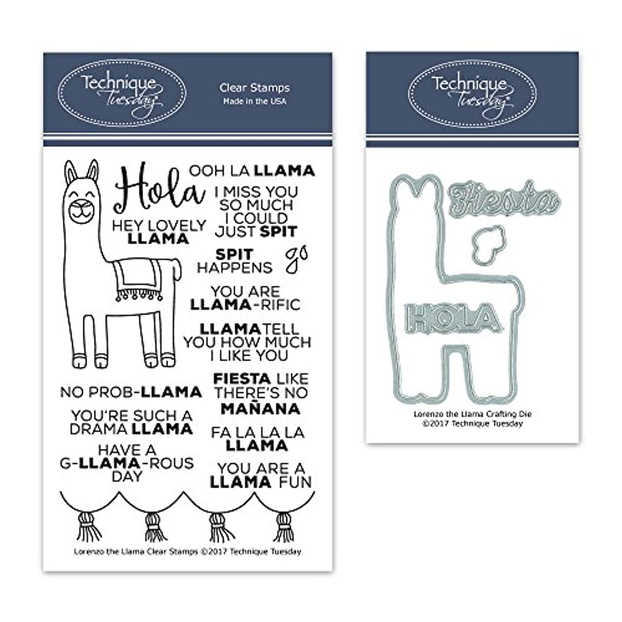 Lorenzo The Llama Clear Stamps with Matching Metal Dies | Clear Rubber Stamps | Photopolymer Stamps | Die Cuts | Craft Dies | Card Making Supplies