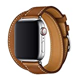 XCool pour Bracelet Apple Watch 44mm 42mm, Cuir Marron Double Tour Bande de...
