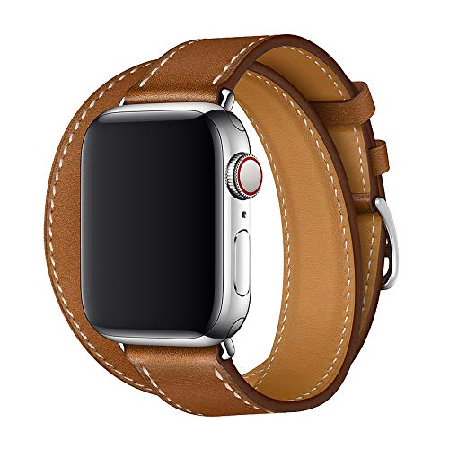 XCool Compatibel met Apple Watch Band Horlogebandjes 38mm 40mm, Leer lederen roodroze vervangende band voor iwatch serie 5 4 3 2 1 (42mm/44mm, Double tour Bruin)