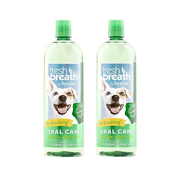 TropiClean Fresh Breath Plaque Remover Pet Water Additive 33.8oz (Pack of 2) – Packaging May Vary