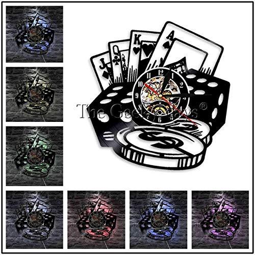 Zhuhuimin 1 stuk ruimte logo roulette lay-out tafel moderne wandklok poker roulette spel geluidsplaat wandklok wandklok 12x12inch Zonder led-licht.