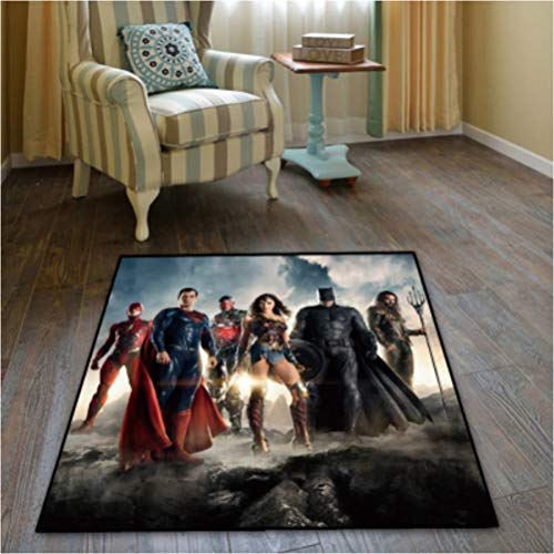 chengcheng DC Comics Justice League Alfombra Dormitorio Sala de niños Vestíbulo Alfombra Antideslizante Silla de Piso Pad Drum Pad 160x160cm