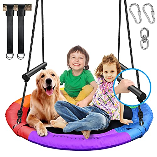 700lb 40' Saucer Tree Swing for Kids Adults, 900D Waterproof Oxford Seat, 1 Swivel for 360° Rotation, 2 Foam Handles for Safety, 2pcs 10ft Tree Hanging Straps