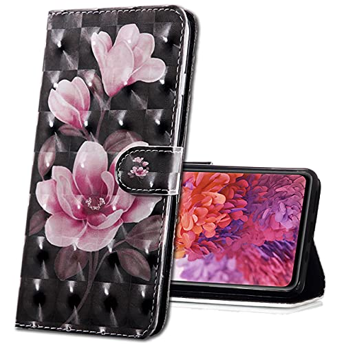 MRSTER Moto E6 Plus Handytasche, Leder Schutzhülle Brieftasche Hülle Flip Hülle 3D Muster Cover mit Kartenfach Magnet Tasche Handyhüllen für Motorola Moto E6 Plus. BX 3D Pink Camellia