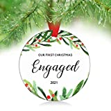 ZUNON Our First Christmas Engaged Ornaments 2021 Couple Married Wedding Decoration 3' Ornament (Engaged Ornament 1)