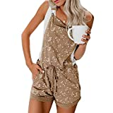 Daley Women Overall Adjustable Strap Star Printed Elastic Waist Shortalls Jumpsuit Overalls With Pocket-Khaki,XL
