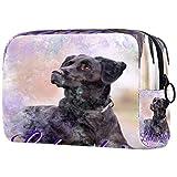 Bolsa de cosméticos para perros de laboratorio negro Labrador Pet Canine Bolsa de maquillaje organizador para viajes portátil neceser para niñas y mujeres