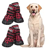 PUPTECK Fleece Lining Dog Boots Waterproof Dog Shoes with Reflective Straps Anti-Slip Paw Protector Rugged Sole for Medium Large Dogs Cold Days Outdoor Walking Running