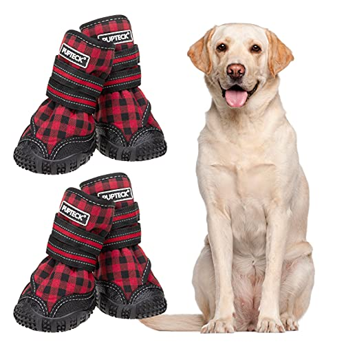 PUPTECK Fleece Lining Dog Boots Waterproof Dog Shoes with Reflective Straps Anti-Slip Paw Protector Rugged Sole for Medium Large Dogs Cold Days...