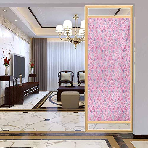 PikaQ Static Cling DIY Decorative Film, Baby Bows and Bootes Buttons Ribbon Infant Elements Bir, Bathroom Office Meeting Room Living Room Window Membrane, W35.4 x H78.7 Inch