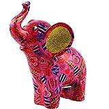 Pomme Pidou Hucha de cerámica, diseño de elefante oscuro, tamaño mediano, color rosa, hucha de cerámica con ranura para...