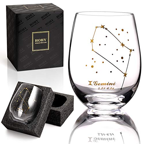 Gemini Wine Glass Gemini Zodiac Gift 20oz Golden,Stemless Wine Glasses, Constellation Glass Define Design, Zodiac Sign Horoscope Gift, Astrology Gifts for Women Men