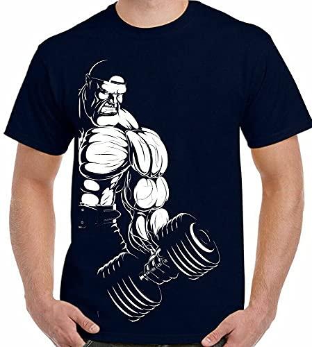 YANGH Gym T-Shirt Muscle Man Mens Funny Training Top MMA Bodybuilding Weightlifting Dark Blue XXL