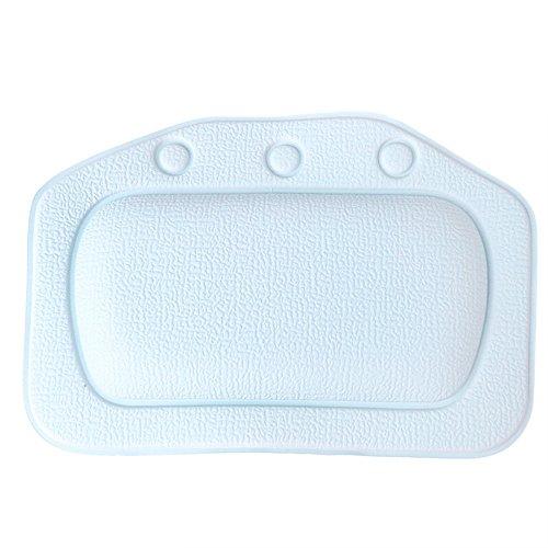 Gosear Cojín Almohada de Relajación de PVC Cabeza Almohada Resto Bañera con Ventosas para Casa Hogar Baño Bañera de Hidromasaje,Blanco