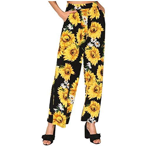 VCAOKF Sunflower Printed - Pantalones de bolsillo para mujer, con pernera ancha, cordón elástico, sueltos, para verano, cintura larga, algodón, lino, tallas S/M/L/XL/XXL Negro XXL