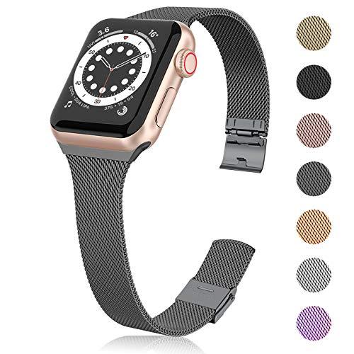 Ouwegaga Correa de Repuesto Compatible con Apple Watch Correa 38mm 40mm 42mm 44mm SE, Clásica Correa de Metal de Acero Inoxidable Compatible con iWatch Series 6 5 4 3 2 1, 42mm/44mm Gris
