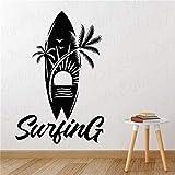yaofale Wassersport Wandtattoo Surf Surfbrett Palm Beach Sunshine Kreatives Muster Vinyl wasserdichte Wandaufkleber Raumdekoration