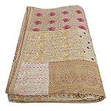 SHUBHARAMBH ENTERPRISES Colcha Kantha de algodón con diseño floral y estampado étnico, cosida a mano, de Kantha