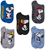 Peanuts Women's No Show Socks with Prints of Snoopy and Woodstock (5 Pack), Size Sock Size: 9-11, Assorted