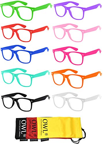Retro Style Vintage Clear Lens Sunglasses Colored Frame 10 Pack OWL