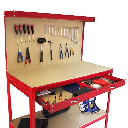 Banco de Trabajo Mesa de Trabajo Encimera de Trabajo Gancho Pared Cajón Almacenamiento Taller Garaje Resistente Bricolaje Rojo
