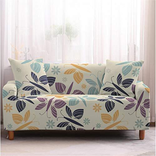 Epty Elastische sofa-garnituren, zacht, kreukvrij en gemakkelijk wasbaar bankstel met libellendruk, woonkamermeubel, beschermhoes voor huisdieren