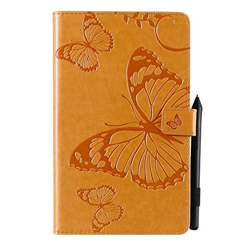 Wangqianli Compatible With Samsung Galaxy Tab A 8 2019 SM-T290/SM-T295 Butterfly Flower Floral Pattern PU Leather Wallet Stand Tablet Case (Color : Yellow)