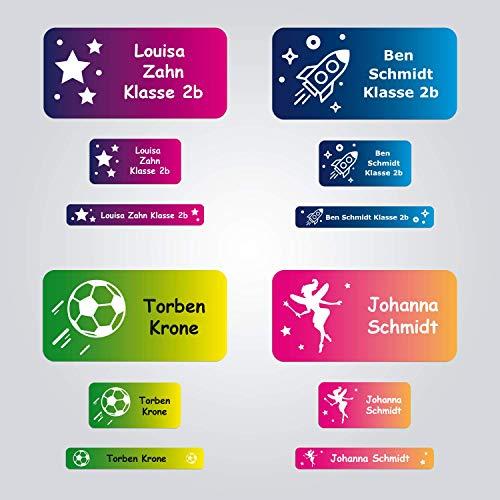 foliado® Namensaufkleber SET Kinder personalisierte Klebeetiketten 3 Größen - 12 Motiv zur Auswahl Sticker Namensetikett Schule Kita Kindergarten wasserfest (150 Stück) APD-023