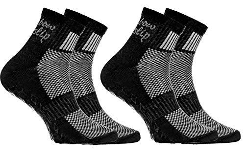 Rainbow Socks - Niño Niña Deporte Calcetines Antideslizantes ABS de Algodón - 2 Pares - Negro - Talla 30-35