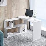 Outwin Folding Computer Table, 360 Rotating L Shape <span class='highlight'>Corner</span> <span class='highlight'>Desk</span> Wood PC Laptop <span class='highlight'>Desk</span> with Shelf, Study Table for <span class='highlight'>Office</span> and <span class='highlight'>Home</span> 120 * 119 * 77 (<span class='highlight'>White</span>)