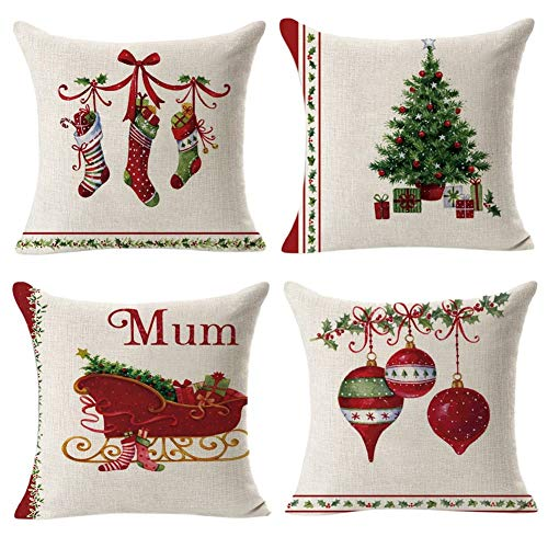 Gspirit 4 Pack Retro Navidad Algodón Lino Throw Pillow Case Funda de...